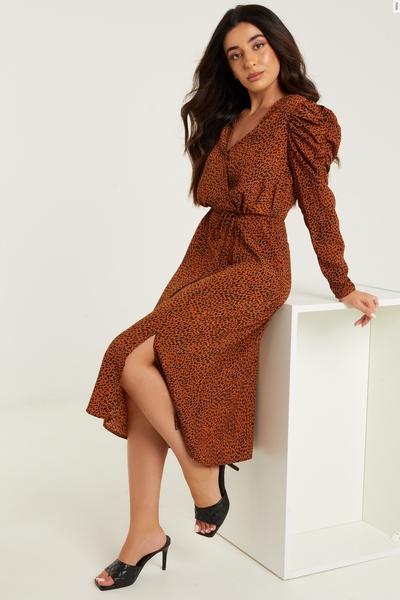 Petite Brown Animal Print Midi Dress